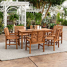 Forest Gate Olive 7-Piece Outdoor Acacia Dining Set in Brown