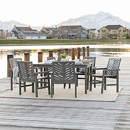 Forest Gate Olive 7-Piece Outdoor Acacia Dining Set in Grey Wash