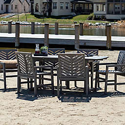Forest Gate Olive 7-Piece Outdoor Acacia Extendable Table Dining Set in Grey Wash