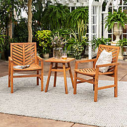 Forest Gate Olive 3-Piece Acacia Outdoor Chat Set in Brown
