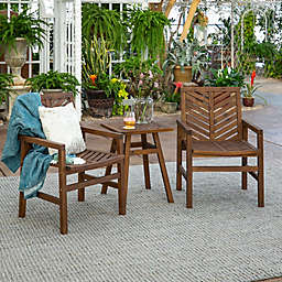 Forest Gate Olive 3-Piece Acacia Outdoor Chat Set in Dark Brown