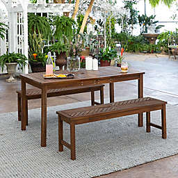 Forest Gate Olive 3-Piece Outdoor Acacia Picnic Dining Set in Dark Brown