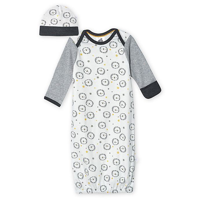 Alternate image 1 for Just Born® 0-6M 2-Piece Organic Cotton Lion Gown and Hat Set