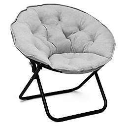 Folding Jersey Saucer Chair in Light Grey