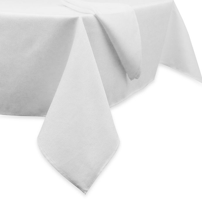 Alternate image 1 for Basketweave 70-Inch Round Tablecloth in White