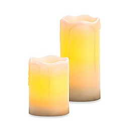 Melted Top Drip Flameless Wax Pillar Candles with Vanilla Fragrance