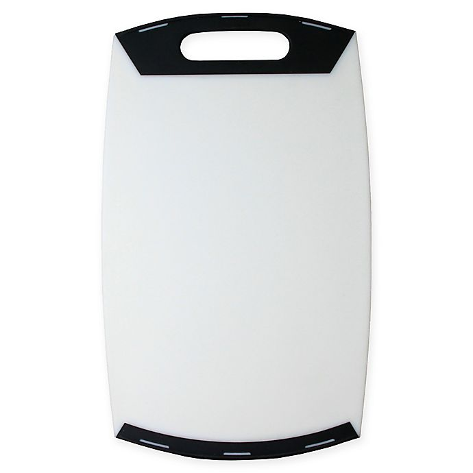 Alternate image 1 for Craft Kitchen 1-Handle Polypropylene Cutting Board in White/Grey