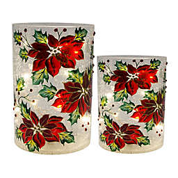Hand-Painted Poinsettia LED Glass Hurricanes (Set of 2)