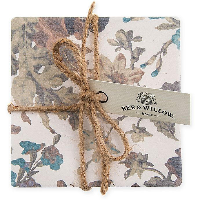 Alternate image 1 for Bee & Willow™ Home Oak Leaf Floral Coasters (Set of 4)