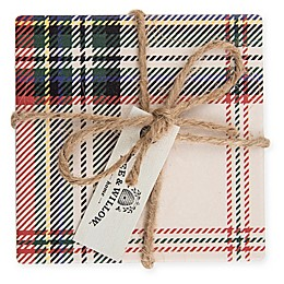 Bee & Willow™ Home Tartan Plaid Coasters in White (Set of 4)