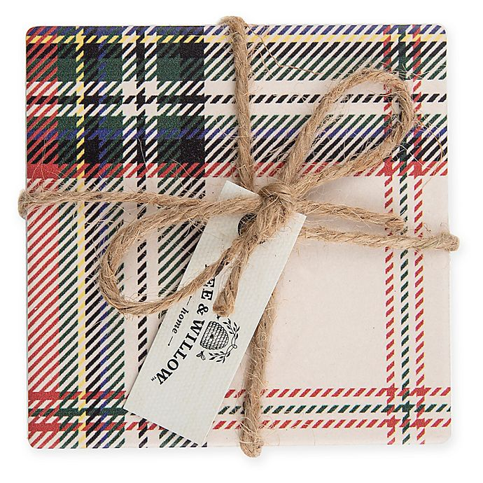 Alternate image 1 for Bee & Willow™ Home Tartan Plaid Coasters in White (Set of 4)