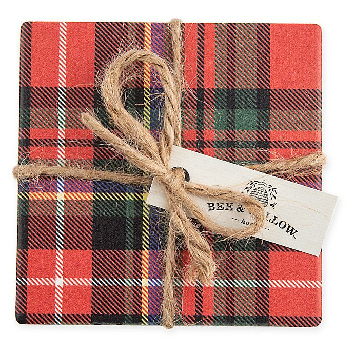 Alternate image 1 for Bee & Willow™ Home Tartan Plaid Coasters in Red (Set of 4)