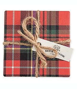 Portavasos Bee & Willow™ Home con diseño de tartán en rojo, Set de 4