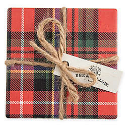 Bee & Willow™ Home Tartan Plaid Coasters in Red (Set of 4)