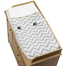 Sweet Jojo Designs Zig Zag Chevron Changing Pad Cover in Grey/Yellow