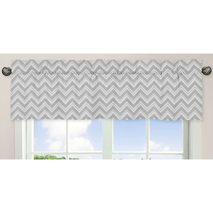 Alternate image 1 for Sweet Jojo Designs Zig Zag Chevron Window Valance in Grey/Yellow