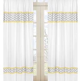 Sweet Jojo Designs Zig Zag Chevron Window Panels in Grey/Yellow (Set of 2)