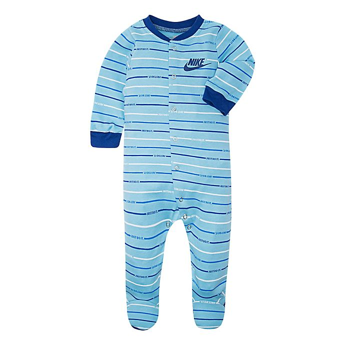 Alternate image 1 for Nike® Striped Footed Coverall in Light Blue