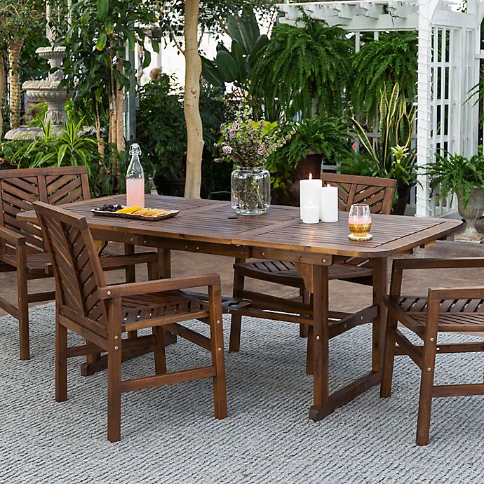 Forest Gate Olive 5 Piece Outdoor Acacia Extendable Table Dining Set Bed Bath And Beyond Canada