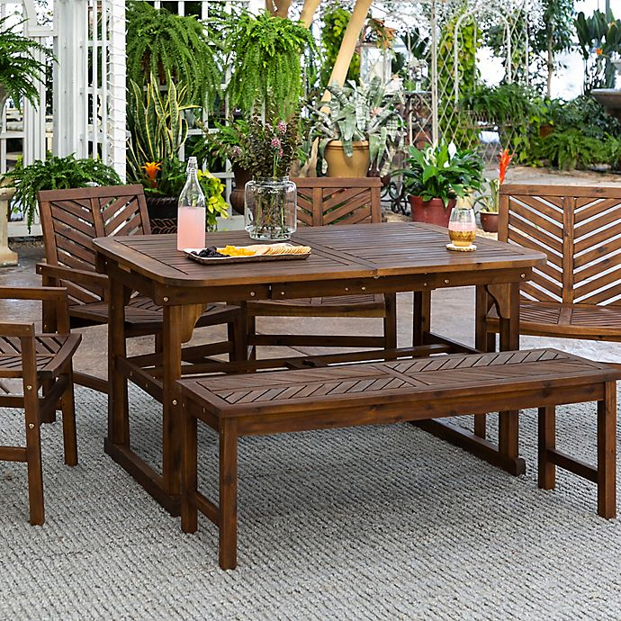 Alternate image 1 for Forest Gate Olive 6-Piece Outdoor Acacia Extendable Table Dining Set