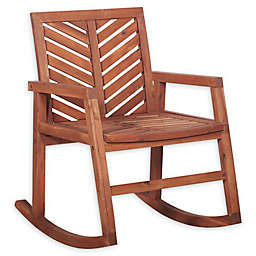Olive Patio Acacia Wood Rocking Chair- Brown