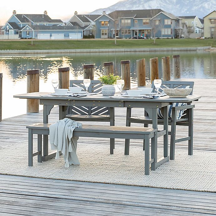 Alternate image 1 for Forest Gate Olive 4-Piece Outdoor Acacia Extendable Table Dining Set