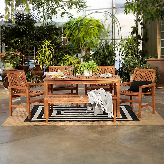 Alternate image 1 for Forest Gate Olive 6-Piece Outdoor Acacia Dining Set