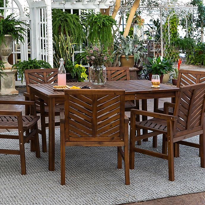 Alternate image 1 for Forest Gate Olive 7-Piece Outdoor Acacia Dining Set