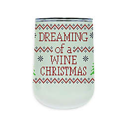 """""""Wine Christmas"""" 18 oz. Insulated Wrap Tumbler with Lid in White"""