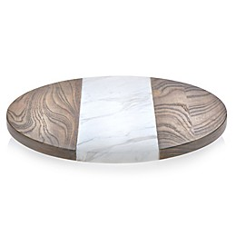 Libbey® Glass Prologue 15-Inch Wood and Marble Lazy Susan