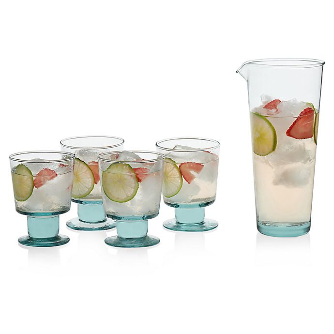 Alternate image 1 for Libbey® Glass Prologue Luna 5-Piece Drinkware Set in Blue