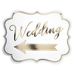 Lillian Rose™ Arrow Wedding Sign in White/Gold