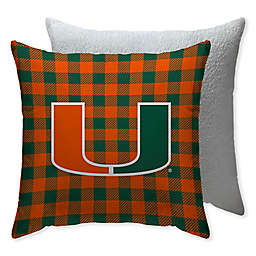 University of Miami Checkered Square Indoor/Outdoor Throw Pillow