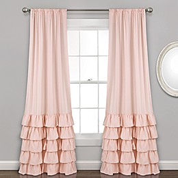 Allison Ruffle 84-Inch Rod Pocket Window Curtain Panel Pair in Blush