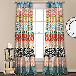Lush Decor Bohemian Stripe 2-Pack 84-Inch Rod Pocket Window Curtain Panels in Turquoise