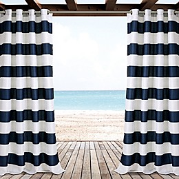 Lush Decor Striped Grommet 84-Inch Outdoor Window Curtain Panel Pair in Navy