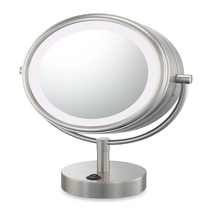 Kimball Amp Young Led Lighted 5x 1x Magnification Free Standing Vanity Mirror In Brushed Nickel