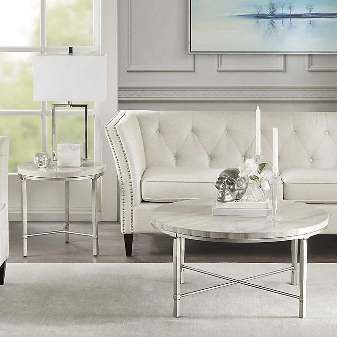 Alternate image 1 for Madison Park Reese Accent Table in Cream/Silver