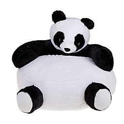 Hearts & Stars Panda Faux Fur Bean Bag Chair in Black/White