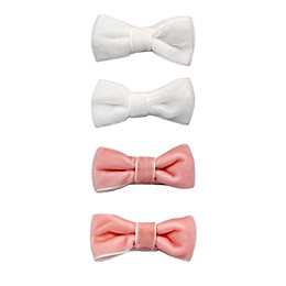 Khristie® Mini Velvet Bow Hair Clips in Pink/White (Set of 4)