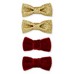 Khristie® Mini Velvet and Glitter Bow Hair Clips in Burgundy/Gold (Set of 4)