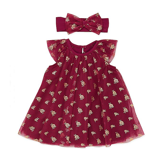 Alternate image 1 for Baby Starters® 2-Piece Rose Tulle Dress and Headband Set in Berry