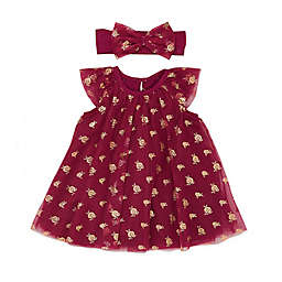 Baby Starters® 2-Piece Rose Tulle Dress and Headband Set in Berry