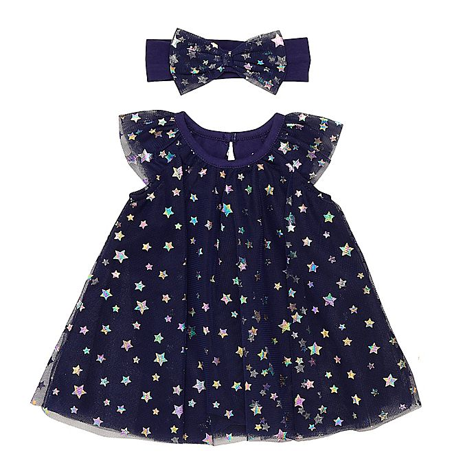 Alternate image 1 for Baby Starters® Tulle A-Line Dress in Navy