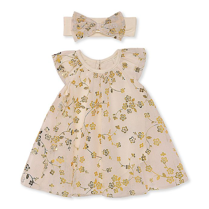 Alternate image 1 for Baby Starters® 2-Piece Floral Dress and Headband Set in Ivory