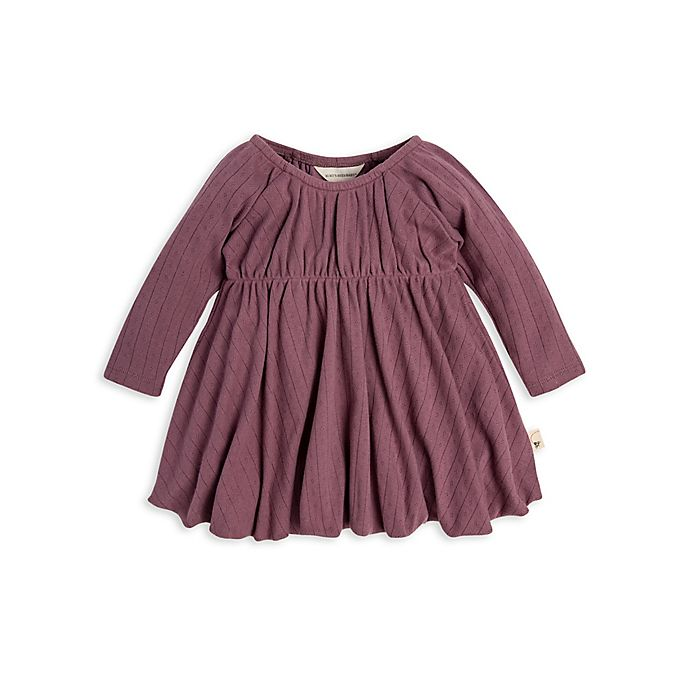 Alternate image 1 for Burt's Bees Baby® Pointelle Organic Cotton Bubble Dress in Purple