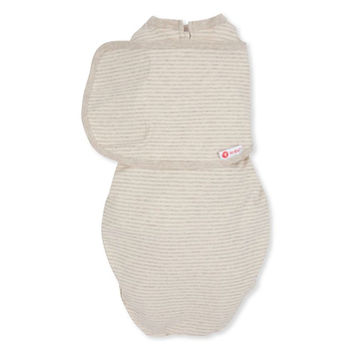 Alternate image 1 for embe® Starter 2-Way Organic Cotton Swaddle in Tan Stripe