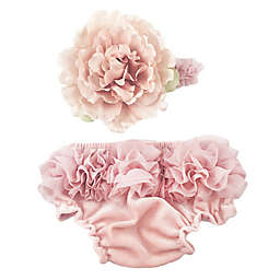 Toby Fairy™ 2-Piece Flower Headband and Diaper Cover Set in Light Pink