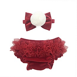 Toby Fairy™ 2-Piece Faux Fur Pom-Pom Headband and Diaper Cover Set in Holiday Red