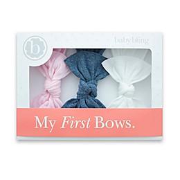 Baby Bling 3-Pack Bow Headbands in White/Denim/Pink